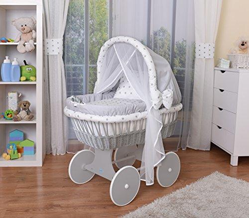 WALDIN Baby Stubenwagen-Set mit Ausstattung,XXL,Bollerwagen,komplett,44 Modelle wählbar,Gestell/Räder grau lackiert,Stoffe grau/Sterne-grau