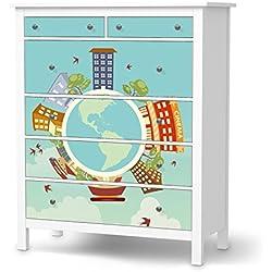 Dekorationssticker für IKEA Hemnes Kommode 6 Schubladen | Dekorfolien Möbel-Aufkleber Folie Möbel-Folie | Wohnung einrichten Accessoires | Design Motiv Planetastic