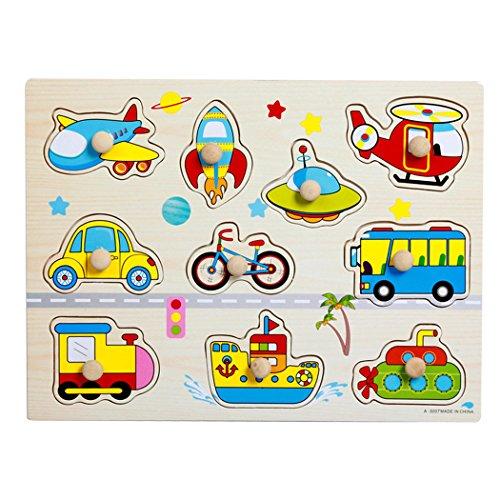 SIPLIV Pegged Puzzle in legno Jigsaw Puzzle per bambini dai 2 ai 5 anni, Home Learning Primi piani...