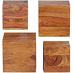 RELAXFAIR Wandregal Cube Würfel Wand Board 4er Set / Massiv-Holz Braun Naturprodukt / Schlafzimmer Flur Küche Wohnzimmer Kinderzimmer / FSC-zertifiziert (Sheesham)