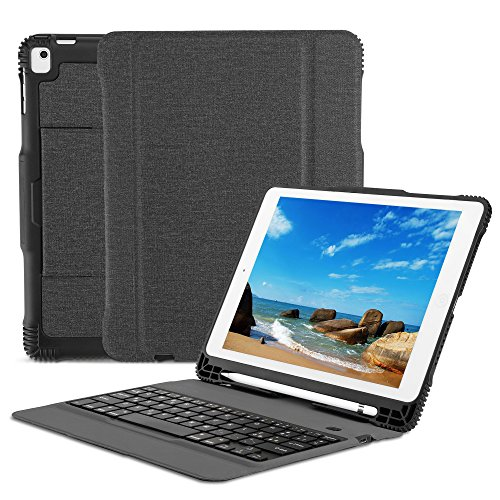 OMOTON Custodia con Tastiera Bluetooth per Nuovo iPad 9.7 2018&2017/iPad PRO 9.7/iPad Air 2/iPad Air - Layout Italiano - Ultra-Sottile e Elegante - Nero