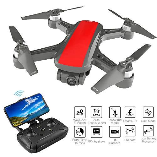 Sixcup C-Fly Dream Drone da 800 Metri + 15 Minuti di Durata della Batteria + Motore a Due Assi Senza spazzole + 4 K HD Pixel + GPS/Flusso Ottico + Zaino Aereo, Rosso, 1080P