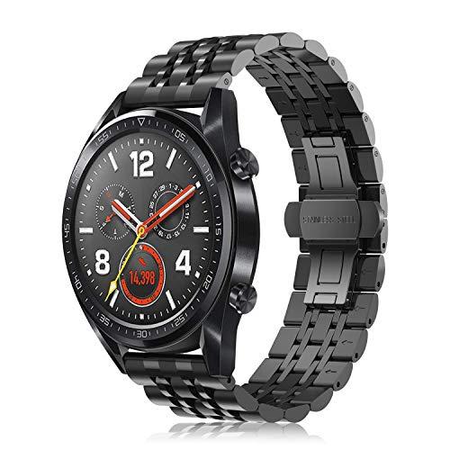 FINTIE Cinturino per Huawei Watch GT/GT Active/GT Elegant smartwatch - Cinturini di Ricambio in Acciaio Inossidabile Banda con Fibbia di Metallo, Nero Plus