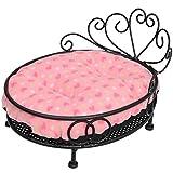 [neu.haus] [pro.tec] Hundebett (schwarz - rosa) - im romantischen Stil/Gestell pulverbeschichtet