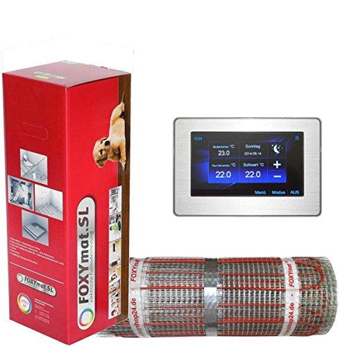 FOXYSHOP24-elektrische Fußbodenheizung PREMIUM MARKE FOXYMAT.SL RAPID (200 Watt pro m²,für die schnelle Erwärmung) mit Thermostat FOXYREG CTFT,Komplett-Set, 5.0 m² (0.5m x 10m)