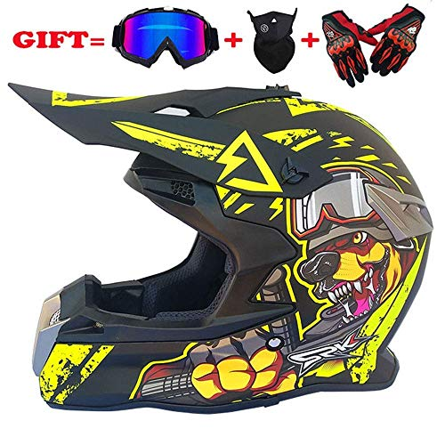 LICIDI Casco Adulto Motocross MX Casco Moto ATV Scooter ATV Casco D.O.T Certificato Rockstar...