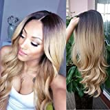 HANNE Ombre Colour 1B/Blonde Long Curly Wig Heat Resistant Synthetic Cosplay Wig Full Wig for Women Party Wigs