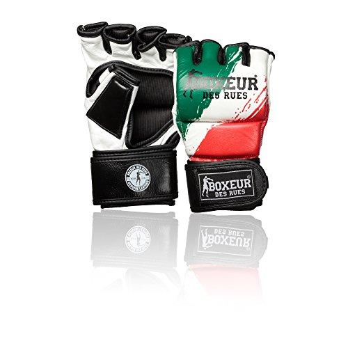 BOXEUR DES RUES Fight Activewear, Guanti da MMA Bandiera Italiana in Pelle Uomo, Flag-Italy, S