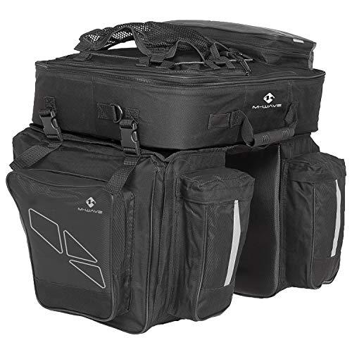 M-Wave Traveller - Alforjas para portaequipajes de bicicleta 3 compartimentos, 62 L, color negro y gris. 4 kg