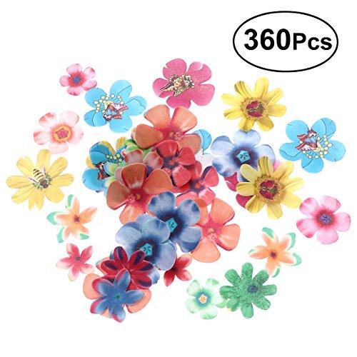 BESTONZON 360pcs carino fiori commestibili cupcake toppers adatto per torta nuziale festa di compleanno decorazione cibo (spessore 0,65 mm)