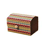 Ukallaite elevata creativo in legno di bambù di cute Jewelry Storage organizer box, Multicolor, 9cm x 6cm x 6cm