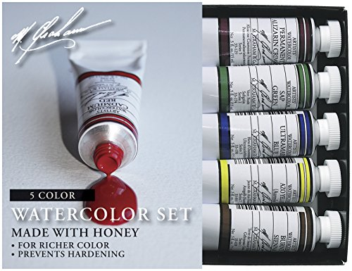M. Graham 1/2-Ounce Tube Watercolor Paint Basic 5-Color Set by M. Graham & Co.
