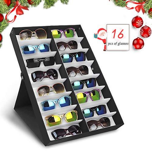 amzdeal Caja para Gafas de Sol Caja de Almacenaje Plegable con Tapa para 16 Anteojos, Caja de Exposición para Gafas, Joya y Reloj