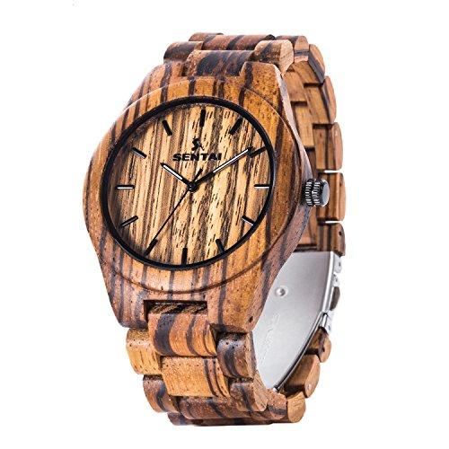 Men's Zebra Wood Watch, Sentai Handmade Vintage Quartz Watches, Natural Wood Wrist Watch