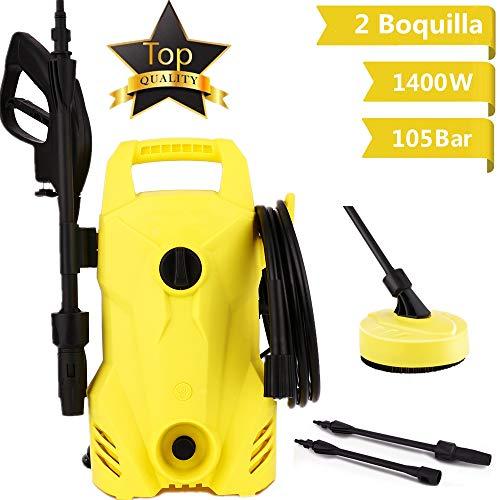 Voluker Hidrolimpiadora,1400 W,105 Bar,300 L/H,Limpiadoras a presión,2 boquillas,Manguera de 5m,Limpiadora de alta presión, para lavado de autos, terraza y hogar