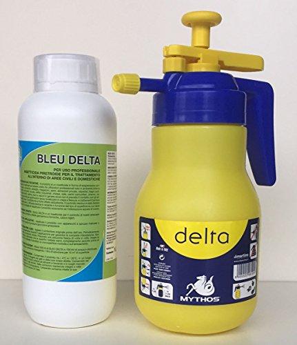 Insetticida Piretroide Blu Delta Concentrato per Interni di Aree Civili e Domestiche. Prodotto Idoneo per Uso Professionale. Confezione da 1 Litro. In Omaggio una Pompa da Litri 1,5