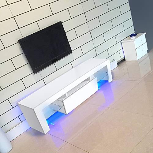 Tavolino TV/panca TV/armadio mobile TV Bianco in legno con Illuminazione LED RGBW e telecomando...
