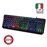 ⭐️KLIM Chroma Tastiera ITALIANA per Gaming USB - Alte Performance - Colori da Videogioco e Retroilluminata - Tastiera da Gioco - Tastiera per Videogame, PC PS4 Windows, Mac - Nuova 2019 Versione