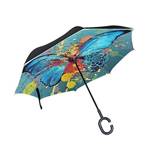 jstel doble capa puede acuarela mariposa paraguas coches Reverse resistente al viento lluvia paraguas para coche al aire libre con asa en forma de C