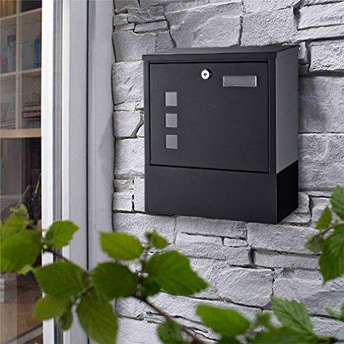 WOOHSE Design Briefkasten anthrazit mit Zeitungsfach, Namensschild, Sichtfenster, Edelstahl pulverbeschichtet, abschließbar, 2 Schlüssel, Farbe: matt
