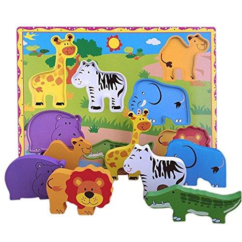 Lewo Puzzle in Legno selvaggio di animali selvatici in legno per i più piccoli Giocattoli educativi...