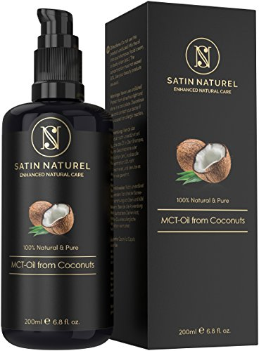 Huile MCT de noix de coco pure & naturelle 200 ml - À base de triglycérides à chaîne moyenne / Huile hydratante corps