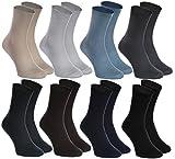 Rainbow Socks - Hombre Mujer Calcetines Diabéticos Sin Elasticos - 8 Pares - Beige Marrón Negro Grafito Azul Marino Caqui Azul y Gris - Talla UE 42-43