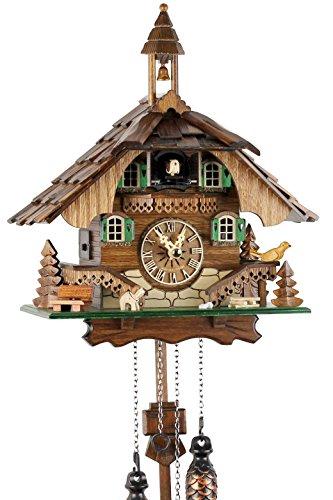 Orologio cucù della Foresta Nera in vero legno con meccanismo al quarzo azionato da batteria e verso cucù - Offerta di Uhren-Park Eble -Casetta della Foresta Nera 32 centimetro-