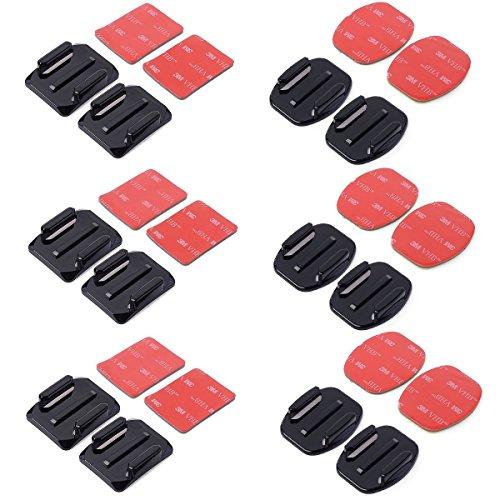 12 PCS piatto Attacchi e curve monta + adesivo di 3M Pad Set per GoPro Eroe 4/3 + / 3/2/1 SJ4000