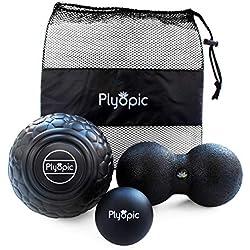 Plyopic Bolas de Masaje – (Set de 3 Massage Balls) – Incluye Pelotas: Lacrosse, Doble y 12cm | Para Automasaje, Liberación Miofascial y Trigger Point. Elimina Dolores Musculares: Espalda Cuello Piernas