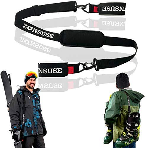 ZONSUSE Sci Tracolla, Regolabile Tracolla da Ski, Tracolla portasci per Il Trasporto di Sci e...