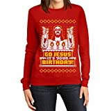 Shirtgeil Maglione Brutto di Natale per lei - Go Jesus It's Your Birthday Felpa da Donna Small Rosso