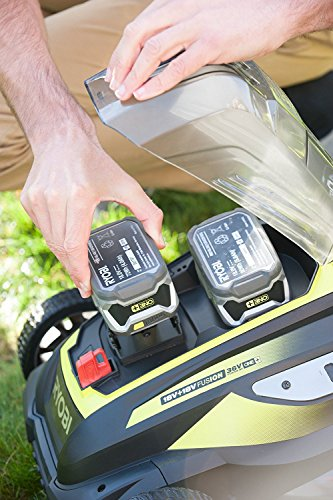 Ryobi RLM18X41H240 ONE+ 36V Fusion Cordless Lawnmower with 2 x 18V 4.0Ah batteries, 40cm Deck - Powered by two batteries for more power