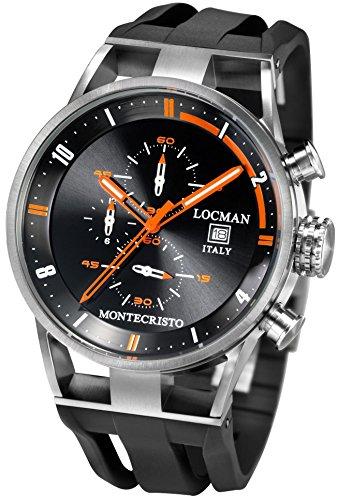 Locman Montecristo / orologio uomo / quadrante nero / cassa acciaio e titanio / cinturino gomma nera