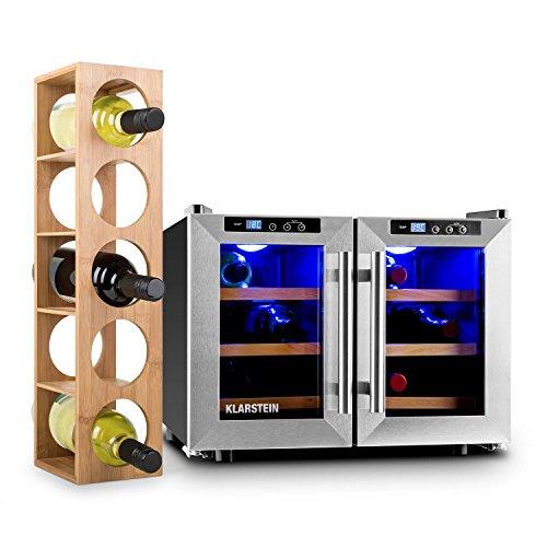 Klarstein Reserva Saloon Set - Cantinetta, frigo vino, 6 ripiani, 2 zone di raffreddamento, scaffale...