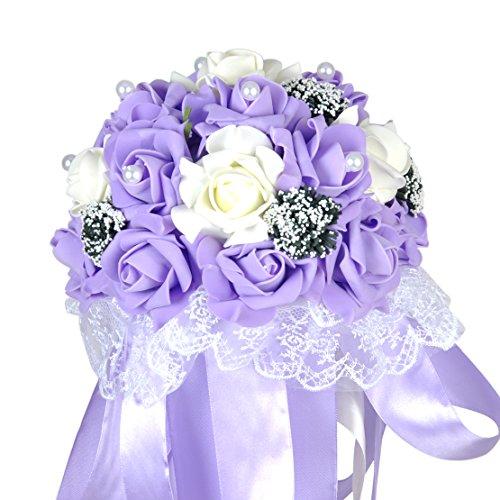 floristikvergleich.de Handgemachte Hochzeit Braut Brautjungfer Bouquet Brosche Seide künstliche Rose Blumen Perle Satin-Lila