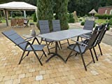 Mandalika Garden 7-teilige Luxus Gartenmöbelgruppe Jay, klappbarer Ausziehtisch, gepolsterte Klappsessel, MFG