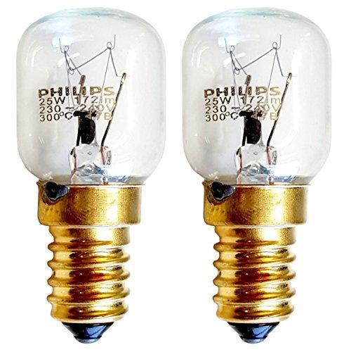 Philips 038715, lampadine 25W SES E14, lampade piramidali a filettatura ridotta, 300 gradi C, 2 X...