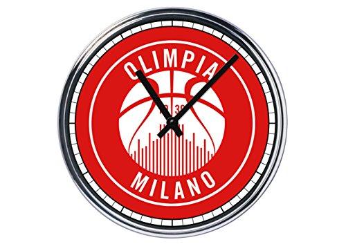 Orologio da partete in acciaio Basket Olimpia Milano