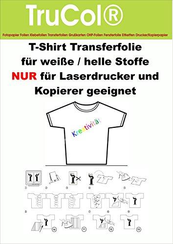 10 Blatt DIN A3 T-Shirt Folie Transferfolie klar/transparent für HELLE/weiße Textilien NUR für Laser DRUCKER + Kopierer