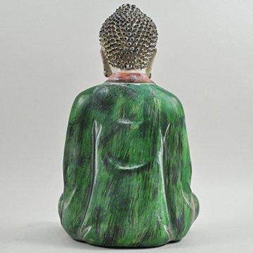 Cross Legged figura de buda grande rojo verde piedra lavar espiritual al aire libre H27cm 5