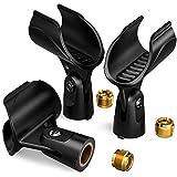 Moukey Universal Mikrofon Clip Klammer Mikrofonhalter mit 5/8 Zoll Stecker auf 3/8 Zoll Buchse Nuß Adapter für Wireless und Handheld Mikrofon, 3 Stück