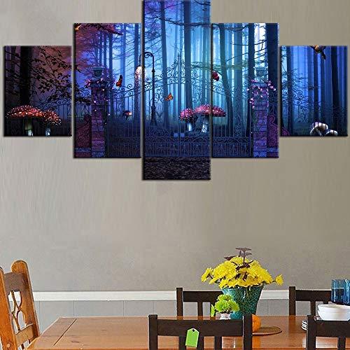 5 Pezzi Modulari HD Stampa su Tela Magical Gate To Forest Type Poster Decorativi per la casa...