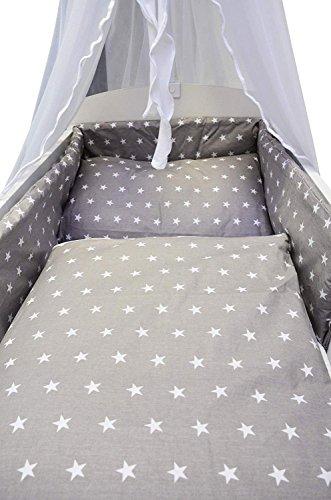 Best For Kids Komplettset Babybett Patrick 70x140 cm mit Matratze 10 cm und Bettwäsche inkl. Decke und Kissen - 6 Design (Sterne grau)