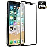 KENTY Pellicola Protettiva per iPhone X, [2 Pack] Pellicola Vetro Temperato iPhone X, Durezza 9H, Alta Trasparente, Anti impronte, Ultra Resistente, 3D Touch Compatible (Nero)