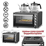 ICQN 42 Liter Mini-Backofen mit 2 Kochplatten und Umluft   Innenbeleuchtung   Pizza-Ofen   Doppelverglasung   Gitterrost   Timer Funktion   Emailliert