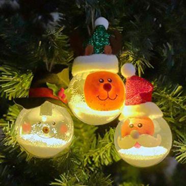 ONEGenug 3 Pièces Décoration de Noël LED boule de Lumière décor Sapin de Noël décor Père Noël / Bonhomme de Neige / Renne