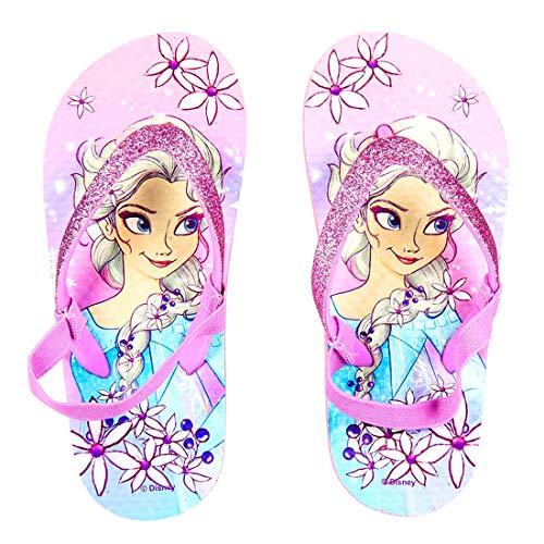 Ciabatte Infradito Bambina Frozen Elsa Disney Glitterato con Brillantini e Fascia Elastica, Rosa...
