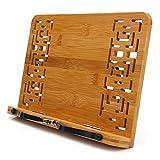 MEETYOO Soporte para Libros PC el Descanso de Lectura Libro de Cocina Soporte Plegable para Libros de Texto iPad/Soporte de Libro Bamboo/Libro de música/Respaldo portátil Ángulo Ajustable