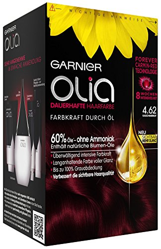 Garnier Olia Haar Coloration Kaschmirrot 4.62 / Färbung für Haare enthält 60{cc1758a57c9f78c7fb21e2b8735bf438df496bbcbf5e778c82d325a6f8add3cf} Blumen-Öle für 8 Wochen intensive Farbkraft - Ohne Ammoniak - 3 x 1 Stück